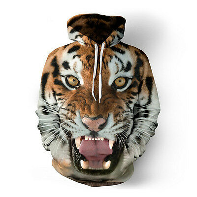 1Pc Unisex 3D Tiger Lion Long Sleeve Pullovers Sweatshirts Tracksuit With Hat