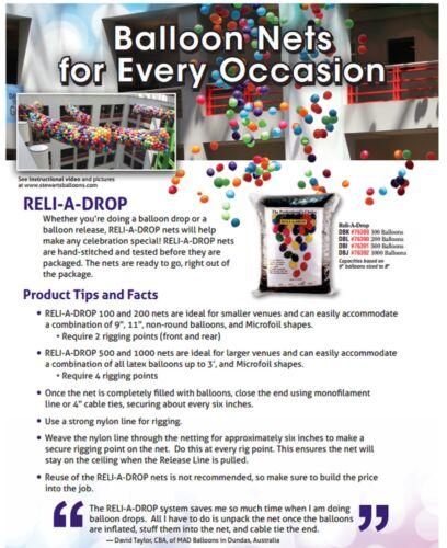 Wedding Party Events Reli-A-Drop Latex Balloon Drop Net // Kit Birthday