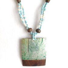 Abalone shell colgante collar largo turquesa, diseño de capa Cuadrado, cuerda con cuentas