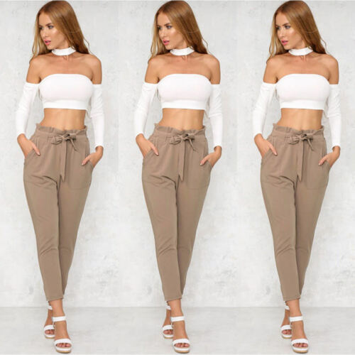 Women/'s High Waist Casual Drawstring Elastic Long Pants Ladies Pencil Trousers