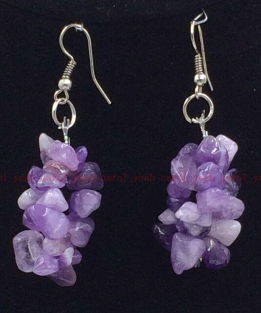 fashion Handmade silver natural Amethyst  pendulous earrings