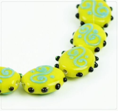 5x Lampwork Glasperlen Schmuck Basteln Perlen Beads DIY Gelb 19mm lb051