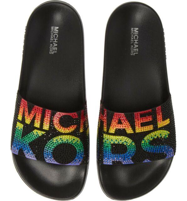 Michael Kors Gilmore Rainbow Black Micro-Suede Crystal Slides Women's Size 10