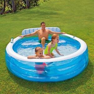 Intex inflatable swim centre family lounge large paddling for Rigid paddling pool