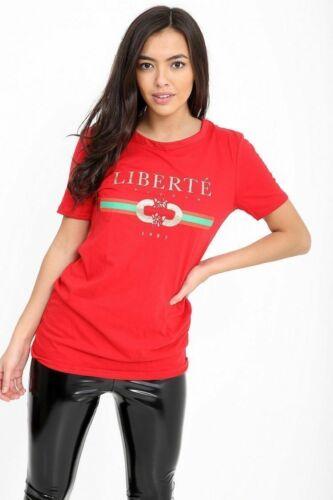 New Ladie Celeb Designer Inspired Casual Top Ladies Vogue T-Shirt Slogan Stripe