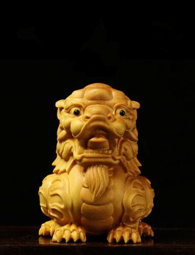 100/% China Natural Boxwood Carve Fengshui Fu Dog Guardion Door Evil Lion Statue