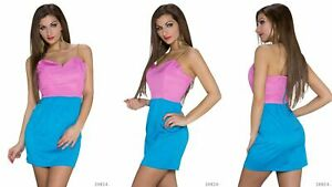 LADIES-PINK-and-BLUE-BODYCON-MINI-DRESS-8-WITH-GOLD-ROPE-STRAPS