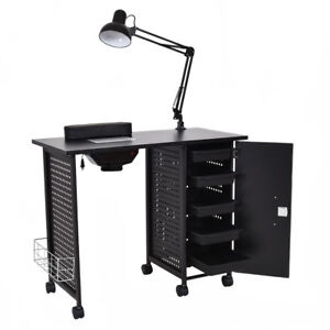 Manicure Nail Desk Table Station Beauty Spa Salon 5 Drawer Lamp ...
