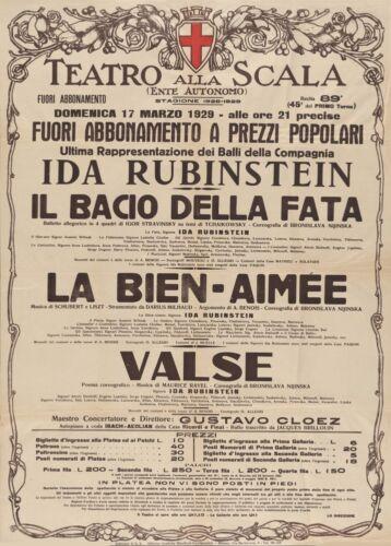 1929 Vintage Ballet Poster Italy Nijinska Ida Rubinstein Teatro Alla Scala