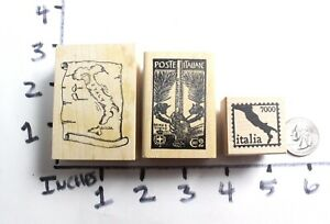Wooden-RUBBER-STAMP-Lot-Italy-Italian-Map-Travel