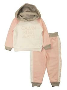 ebc1a74e029f3 Image is loading Calvin-Klein-Infant-Girls-Pink-Marshmallow-2pc-Jogger-