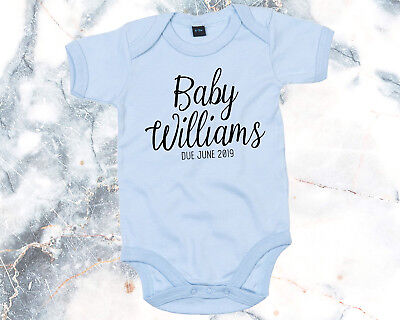 Personalised Surprise Due Date Pregnancy Reveal Baby Shower Baby Grow Bodysuit