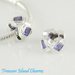 .925 Solid Sterling Silver EUROPEAN Spacer Bead Charm WITH SQUARE PURPLE CZ