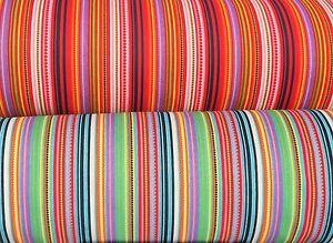 Negro y Multicolor a rayas de algodón 100/% con puntos múltiples por Metro