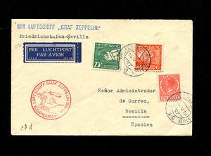 Zeppelin Sieger57A 1930 South America Flight NetherlandsTreaty dispatch to Spain