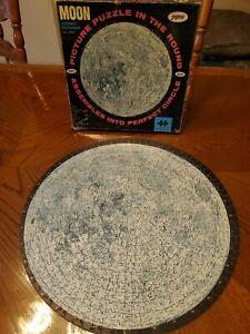 Vintage-1960s-Jaymar-Round-MOON-Space-Puzzle-Authentic-Photo-COMPLETE