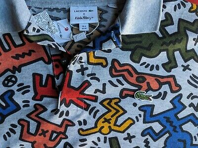 Lacoste Keith Haring Pique Graphic Polo Shirt Regular Fit Silver Grey Chine $165