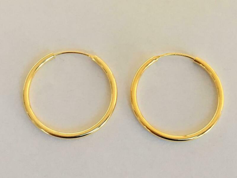 18k Gold Sterling Silver 25 Mm Endless Hoop Earrings Sleepers Gold Medium Hoops
