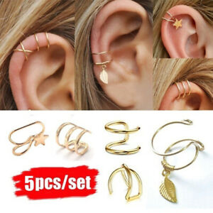 5Pcs-Women-Men-Ear-Cuff-Clip-On-Earrings-Fake-Cartilage-Earring-Non-Piercing-AU