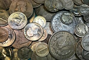 1-Lot-of-90-Silver-Junk-Coins-1-Morgan-1-Half-Dollar-amp-Dimes-Included-Bullion