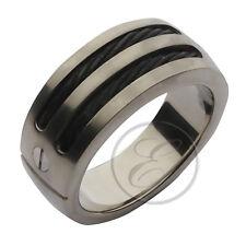 Titanium Flat Court Black Rope Designed Wedding Ring