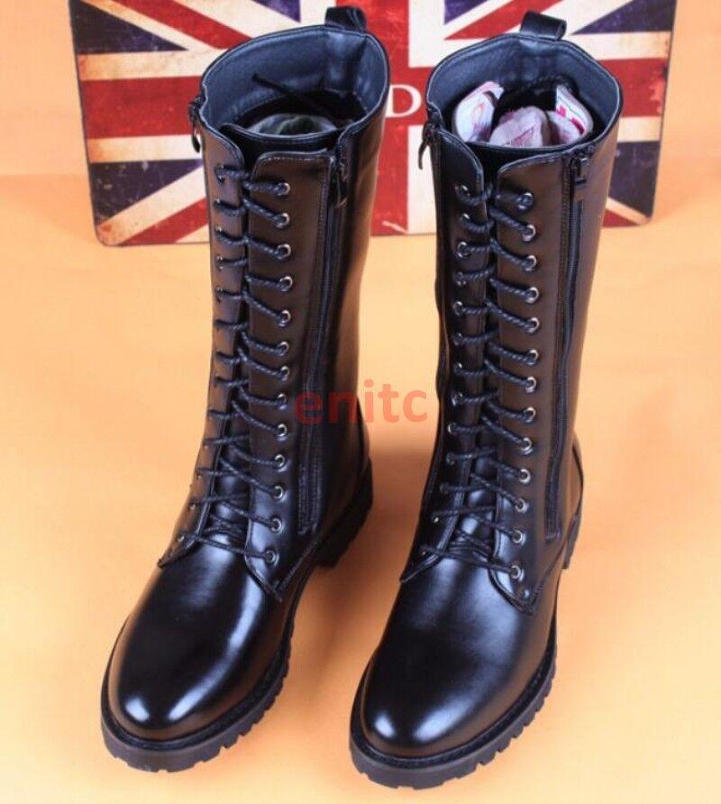 Zapatos con cordones para hombre Estilo Militar Combate de la rodilla botas altas botas de montar a caballo de la motocicleta C-03