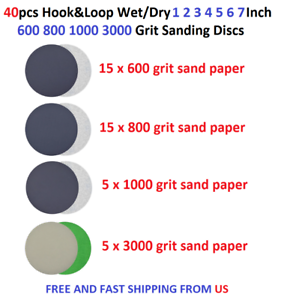 "100pcs 1 2 3 4 5 6 7/"" Hook/&Loop WetDry Silicon Carbid Sanding Disc 320-10000grit"