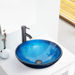 Vessel Sink Faucets Oil Rubbed Bronze.Details About 16 5 Blue Bathroom Tempered Glass Vessel Sink Faucet Oil Rubbed Bronze W Drain