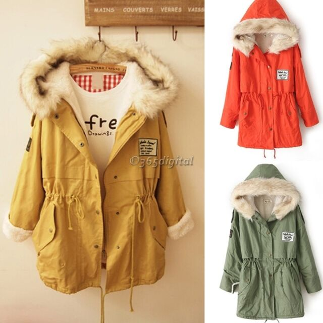 Fashion Lady Women's Winter Fur Collar Thick Padded Long Sleeve Outerwear Coat D