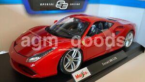 1-18-Maisto-Escala-Ferrari-488-GTB-Rojo-Diecast-Modelo-Coche
