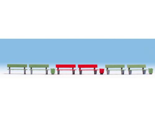* Noch scala N 35848  6 Panchine colorate 3 cestini immondizia Nuove OVP