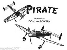 Model Airplane Plans (UC): Vintage PIRATE Class 'B' Stunt by Don McGovern (1946)
