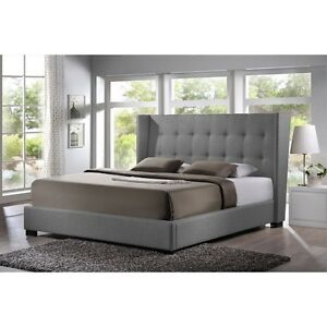 Image Is Loading Favela Gray Linen Modern Bed With Upholstered Headboard