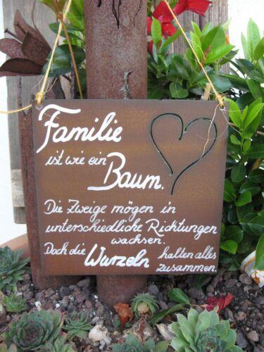 """/""""Familie ist wie ein ../"""" Edel-Rost -Tafel 2 Schild Spruchtafel Garten"""
