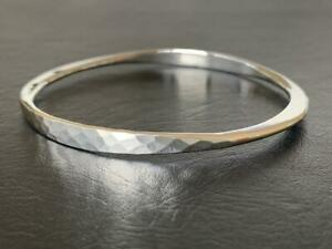 Genuine-925-Sterling-Silver-Bangle-Bracelet-Slip-On-Hammered-Solid-62-mm