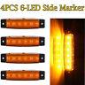 4x Amber 12V 6 LED Truck Bus Trailer RV Lorry Side Marker Indicators Light Lamp