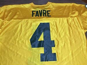 pretty nice 25240 3f0d4 Details about Brett Farve Large Yellow Green Bay Packers Jersey NFL  Authentic