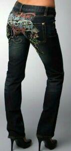 BNWOT CHRISTIAN AUDIGIER Jeans lowrise blue croppeddenim w/Buddha embroidery s26