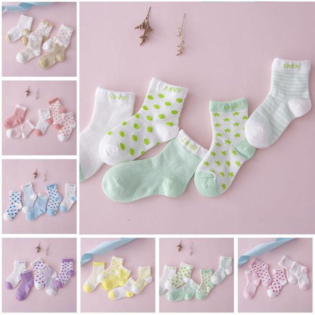 5Pairs Baby Boy Girl Kid Cartoon Cotton Socks New Born Infant Toddler Soft Socks