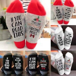 Merry-Christmas-Stockings-Womens-Cotton-Socks-Letters-Printed-Hosiery-Xams-Decor
