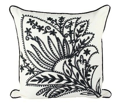 One Duck Two York cotton cushion cover in cream and black 45 x 45