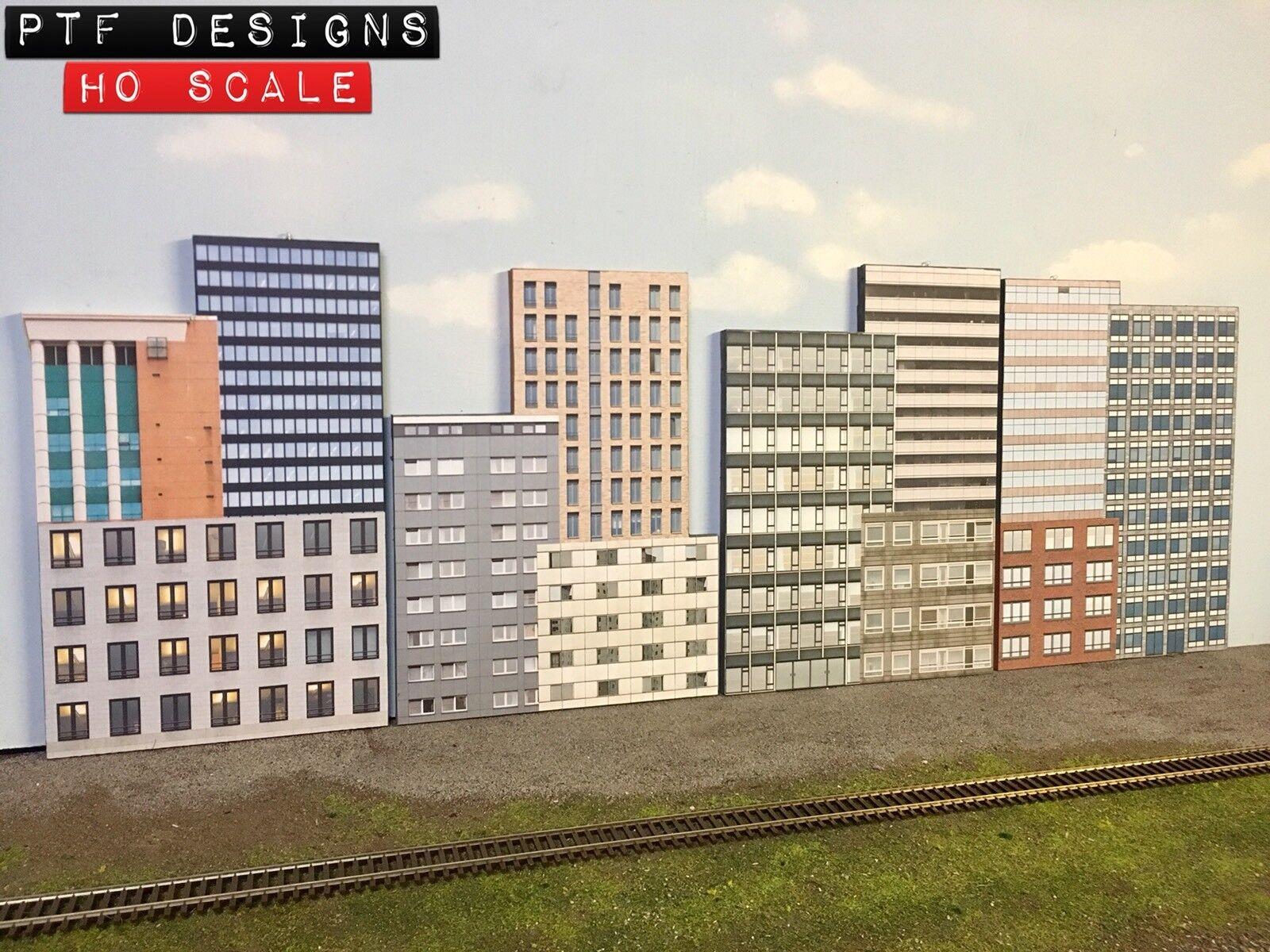 Escala Ho comercial Combo 1,2,3 y 4 Conjunto de 4 Pisos frente 3D de fondo de construcción