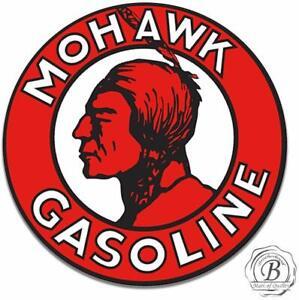 Mohawk-Gasoline-Motor-Oil-Gas-Garage-Round-Metal-Tin-Sign