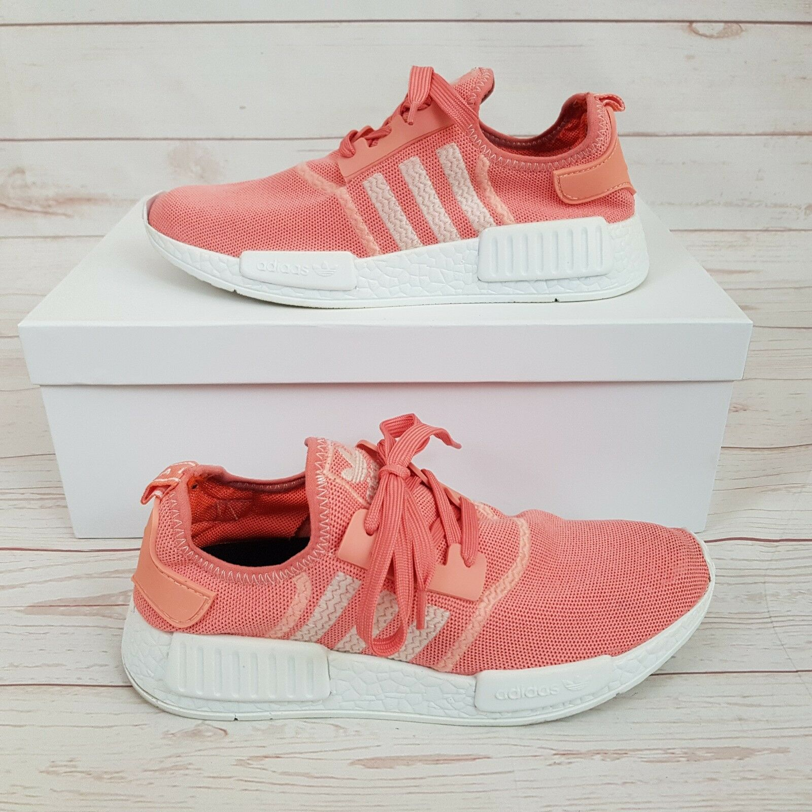 Adidas Womens NMD Raw Salmon orange Pink Lace Up Trainers UK 5.5