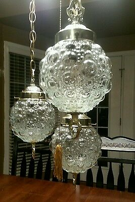 Vintage Triple Swag Lamp Bubble Glass Hanging Lamp Light Fixture