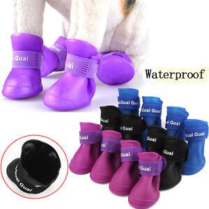 1set-4-Piezas-Suave-Resistente-Al-Agua-Botas-para-Perro-Goma-Pet-Lluvia-Zapatos