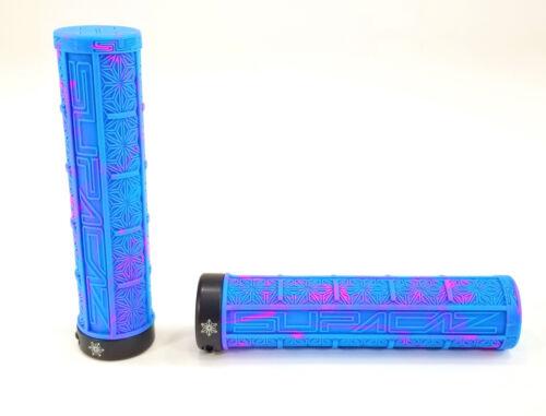 SUPACAZ SPLASH GRIZIPS 32mm Lock-on MTB Grips Neon Blue//Pink Splash