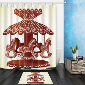 Image Is Loading Christmas Carousel Cookies Gingerbread Paradise Bathroom Fabric Shower