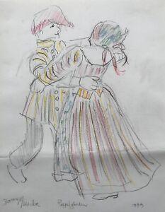 Doreen-Middelboe-Tanzendes-Paar-Folklore-Tracht-Skandinavien-Modern-Art