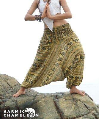 Harem Elephant Pants Hippie Brown Yoga Festival Aladdin Gypsy Loose Boho Comfy